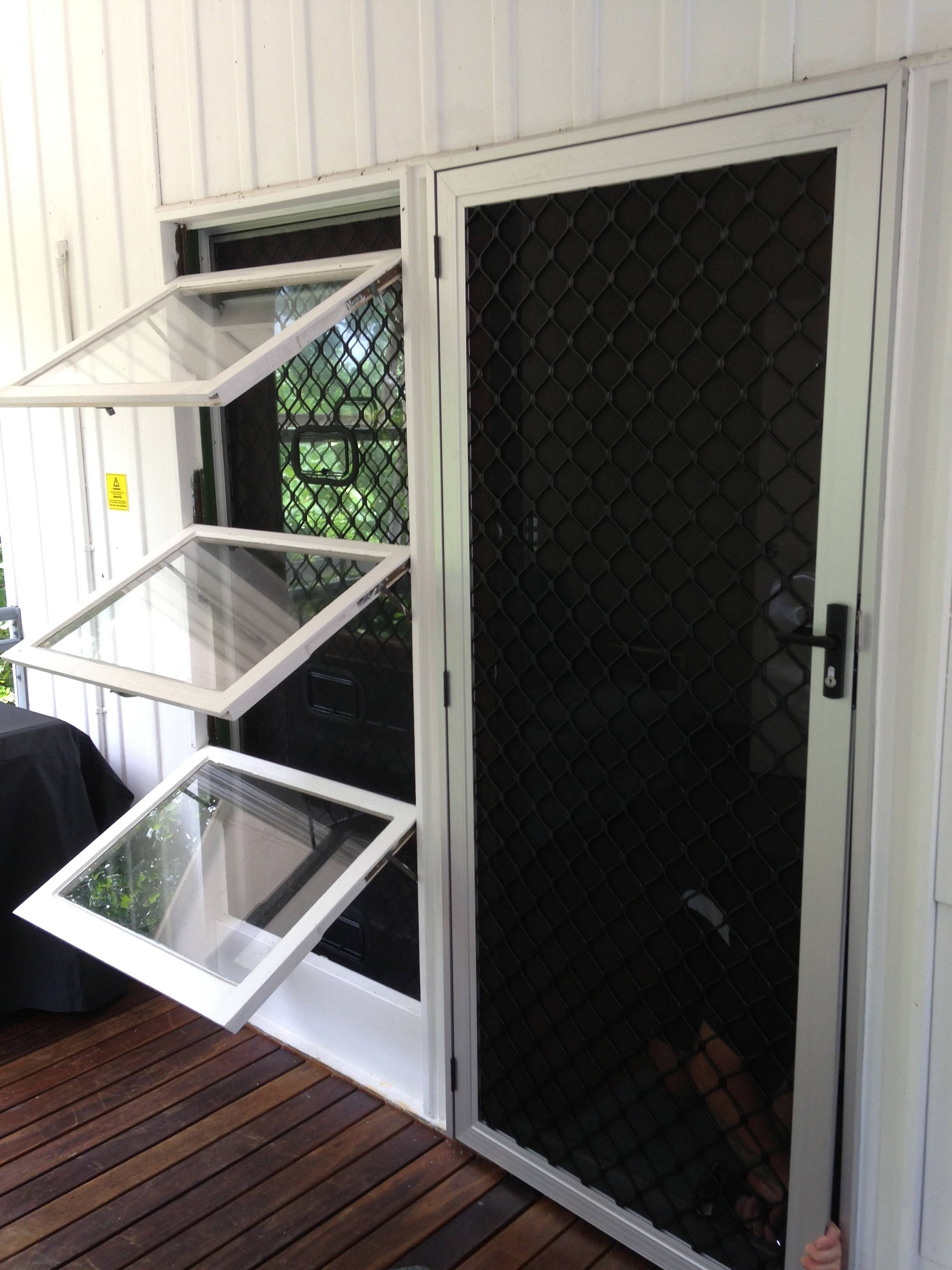 Push out Window Security Screen with Latch Access