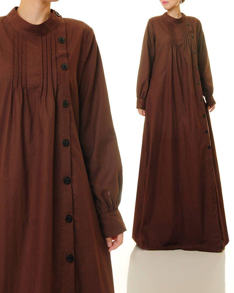 Brown linen dress shirtdress abaya maxi dress brown maxi dress