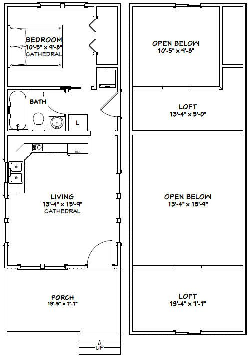 14x32 Tiny House 14x32h13a 646 Sq Ft Excellent Floor Plans Shed House Plans Shed Plans Cabin House Plans