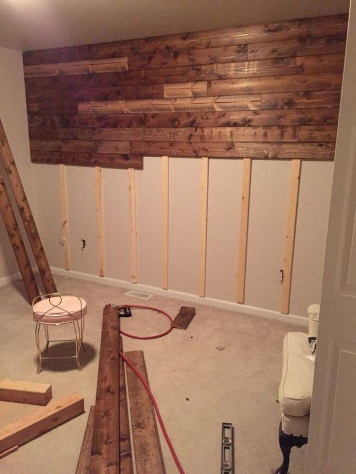 65 Rustic Home Decor Ideas You Can Build Yourself 17 Wooden Accent Wall Home Accents Home Diy