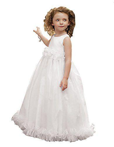 Jordan Sweet Beginnings L789 Sleeveless Long Organza Flower Girl Dress, White, 10