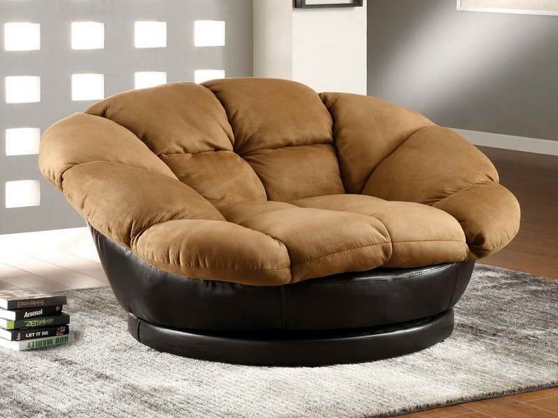 Ultra Comfy And Big Lounge Chair In Brown And Black Leather For The Base Oversized Chair Living Room Comfy Chairs Upholstered Swivel Chairs