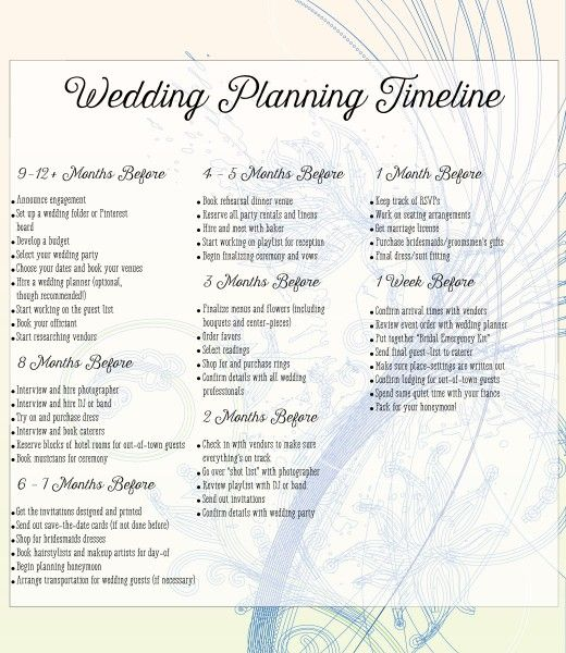 wedding to do lists timelines
