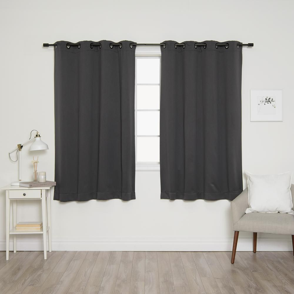 Best Home Fashion 63 In L Onyx Grommet Blackout Curtains In Dark
