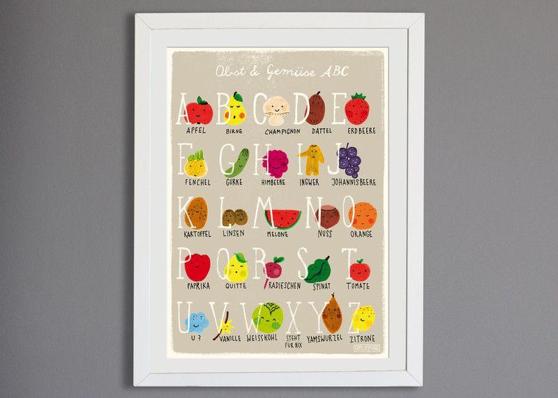 Poster Abc Mit Obst Gemuse Fur Deine Kuche Oder Dein Kinderzimmer Von Familie Kleiner Tiere Auf Dawanda C Abc Poster Kinderposter Obst Und Gemuse