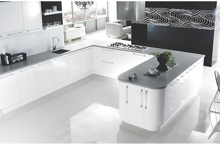 Cooke lewis high gloss white kitchen ranges kitchen for Kitchens b q cooke and lewis