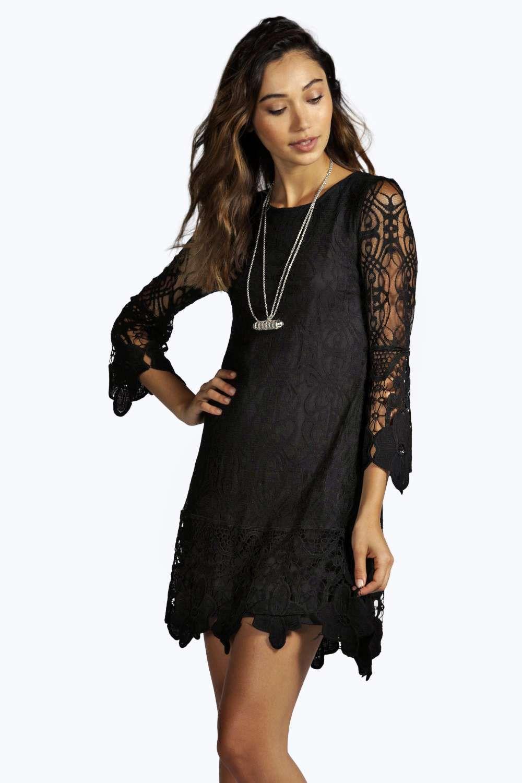Flower lace long sleeve smock dress boohoo black lace