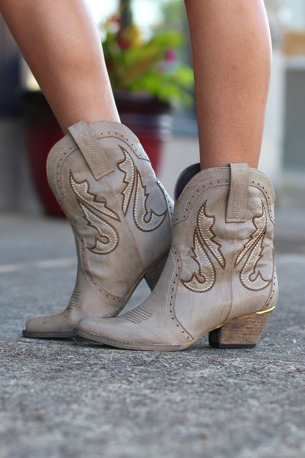 df6369c3cf6 Markie Western Cowgirl Bootie {Stone} by VERY VOLATILE   Shoes ...