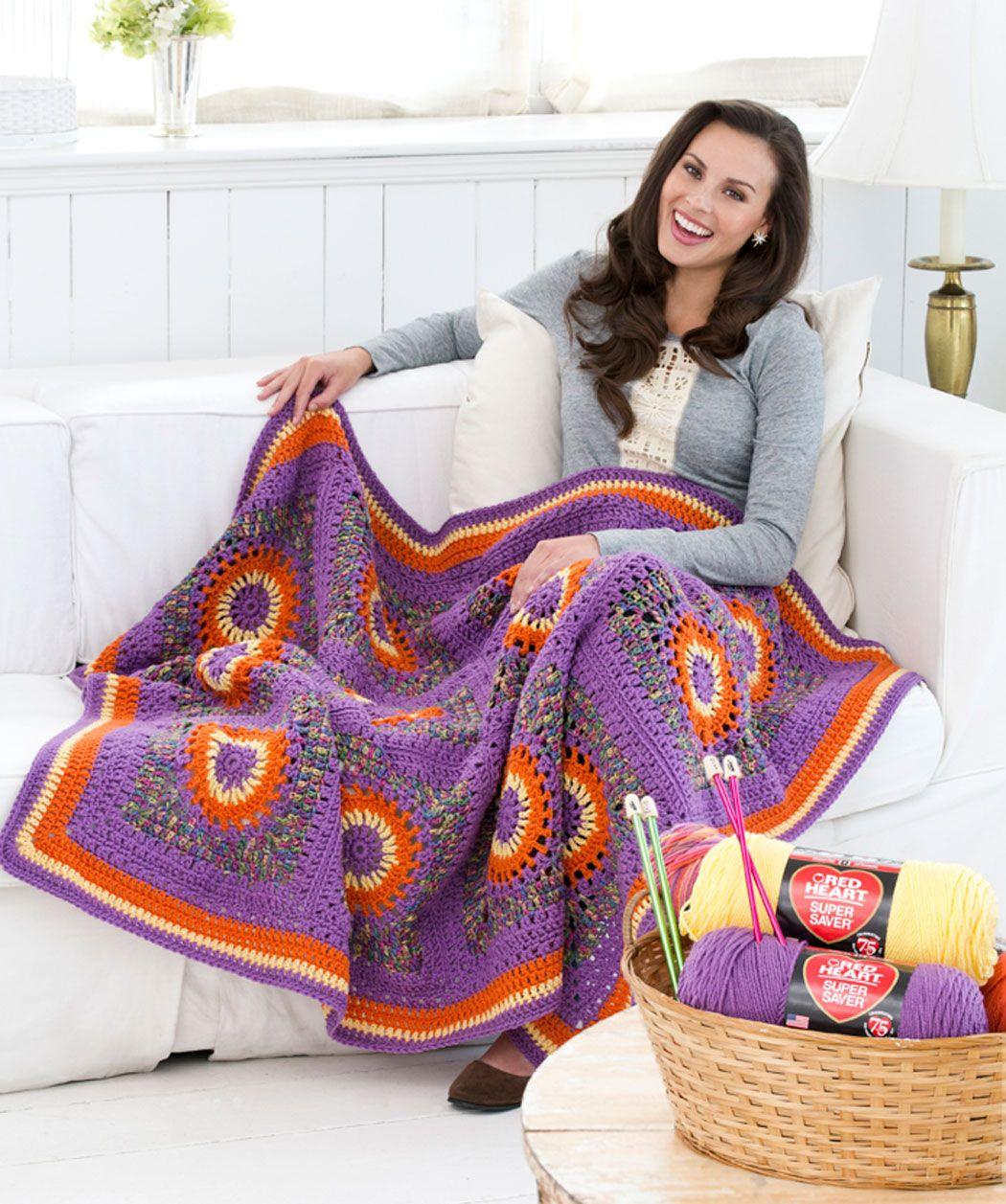 Crochet Circles Throw, free instructions. http://www.redheart.com ...