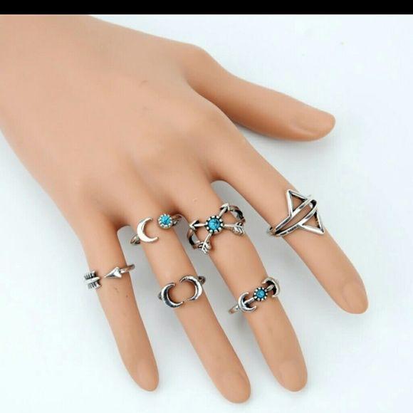 Fashion 6Pcs Turquoise Arrow Moon Statement Midi Rings Women Jewelry Set