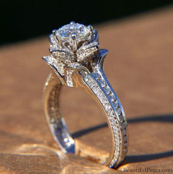 Platinum Gorgeous Unique Flower Rose Diamond Engagement Ring