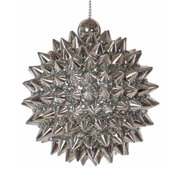 Christmas Tree Spike Part - 15: Silver Spike Ball Tree Decoration