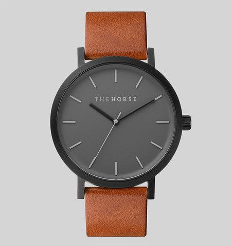 Matte Black / Tan Leather | The Horse - except with black or light tan leather band