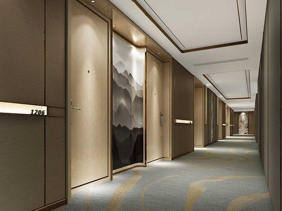 Upscale hotel interior design interscap corridor for Hotel corridor decor