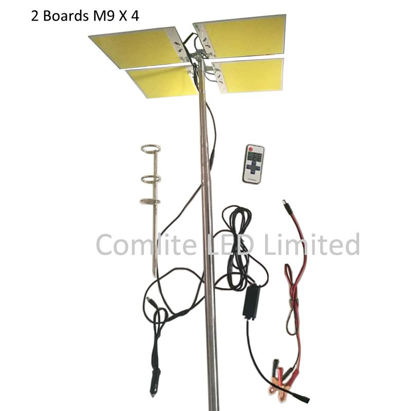 Telescopic Fishing Pole 96pcs Leds Boards X 4 Cob Led Panel Light 200w 400w Top Brightness 5 Meters Pole Camping Lamp Novelty Lighting Outdoor Lanterns