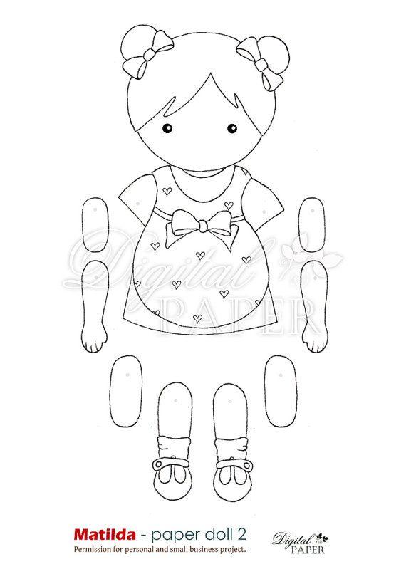 Matilda paper doll 2 digital collage sheet by