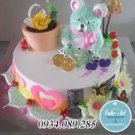 Bánh nghệ thuật trang trí gấu bông kem 3D đẹp tuyệt