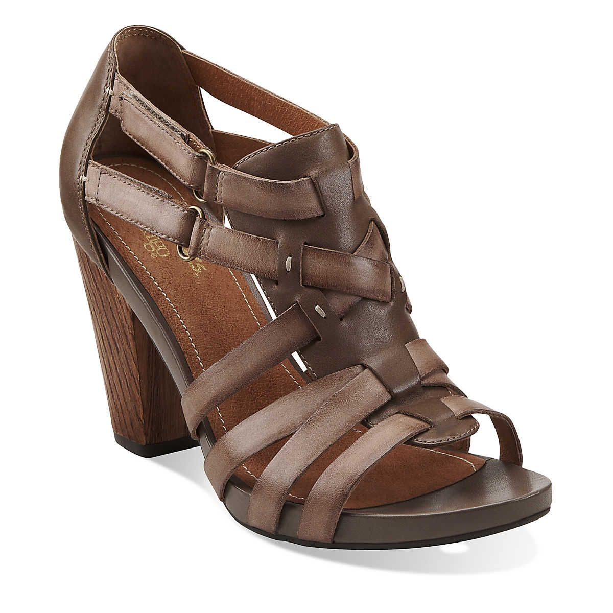 Rosa Hyde in Dark Taupe Leather - Women s Sandals from Clarks - Women s  Wedges