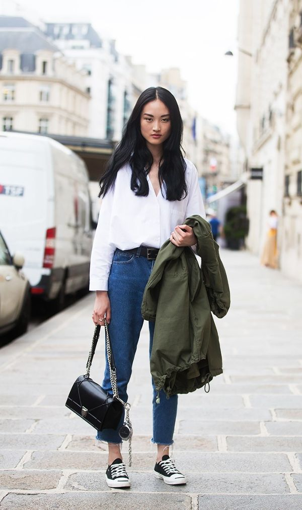 13 Outfit Formulas for High-Waisted Jeans | Jean outfits, Converse and  Stylish outfits