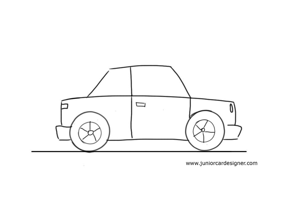 very easy car to draw for little kids need this - Basic Drawings For Kids