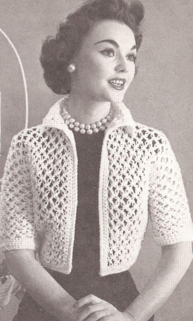 Vintage Crochet Knot Lace Bolero Shortie Jacket Pattern http ...