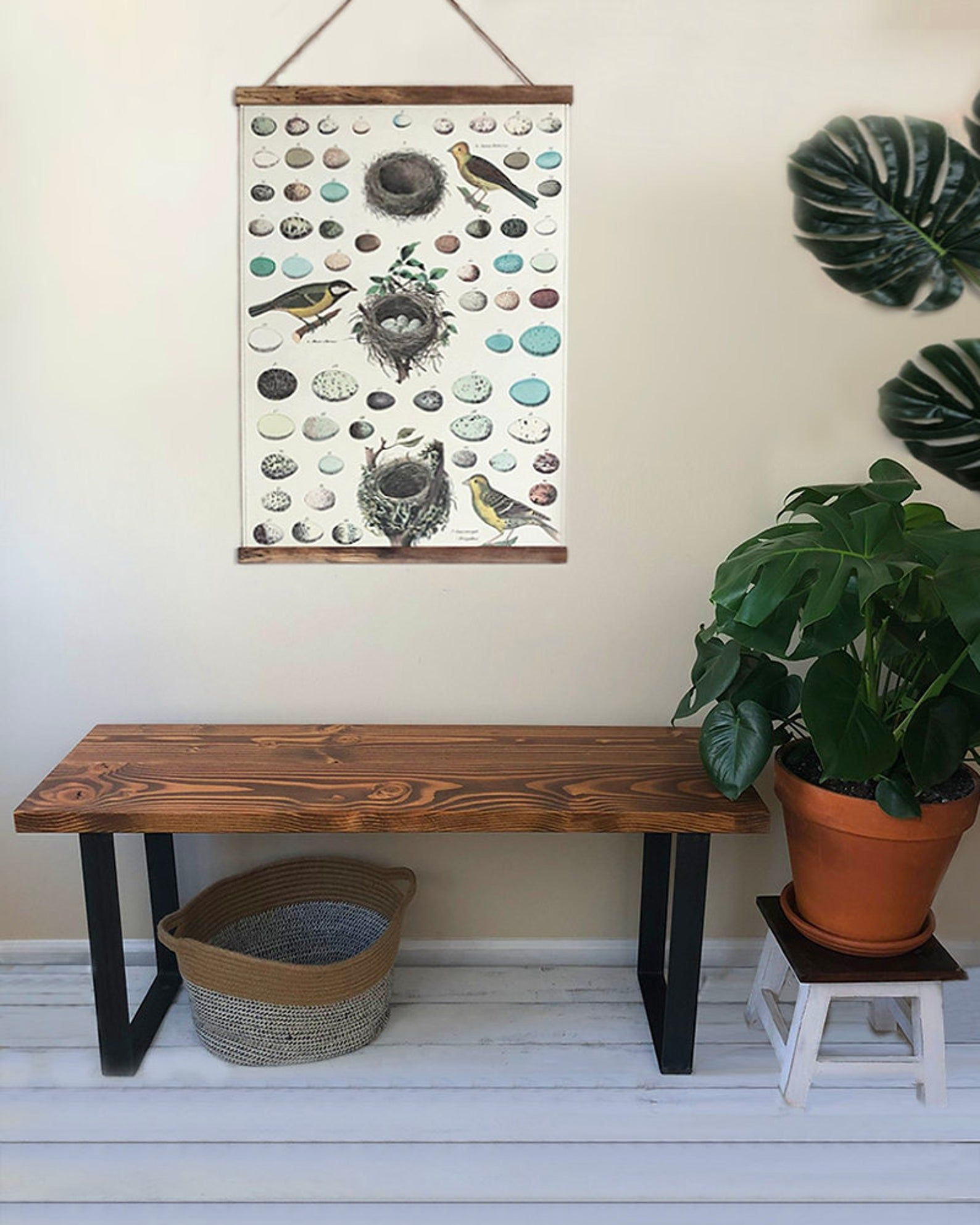 Entryway Bench With Steel Legs Farmhouse Bench Douglas Fir And