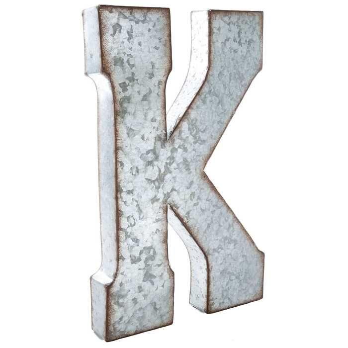 Galvanized Metal Letter Wall Decor K Metal Letter Wall Decor
