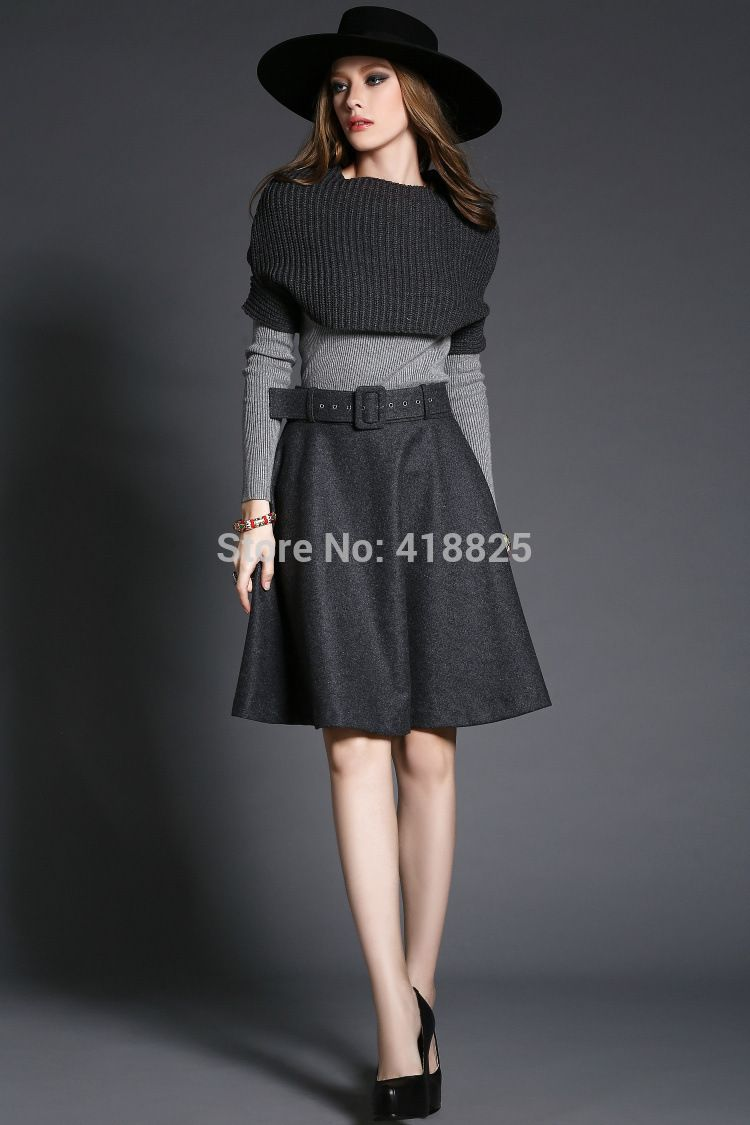 2015 printemps d hiver concepteur femmes vêtements set jupe costume gris  foncé tricoté cape jupe gris clair pull marque de mode jeu dans Women s  Sets de ... fae875b7bf4