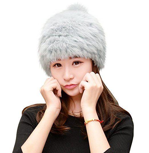 ff231f84688 Urban CoCo Women s Winter Warm Beanie Rabbit Fur Hat Pom Pom Cap (Grey) at  Amazon Women s Clothing store