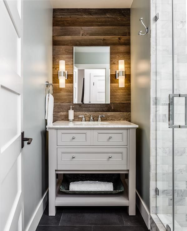 Small Rustic Cottage Bathroom Features A Plank Accent Wall Holding Stunning Small Rustic Bathrooms 2018