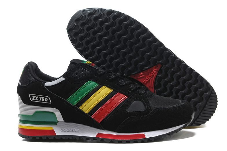 Original Baskets Adidas Originals ZX 750 Femme Noir Gym Rouge Jaune Vert  For t Blanc Prix Bas