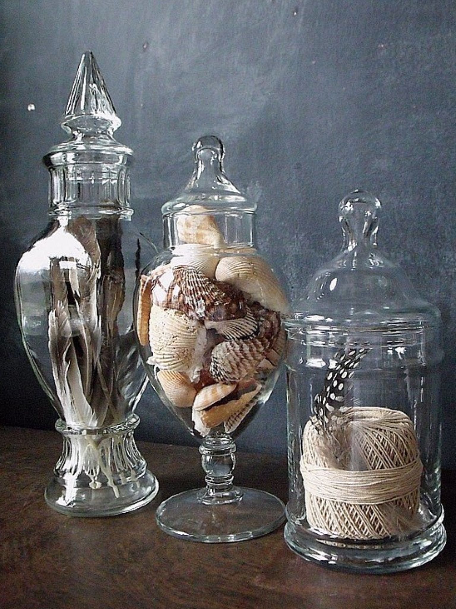 fill apothecary jars with feathers shells rope rocks etc for a year round look family. Black Bedroom Furniture Sets. Home Design Ideas