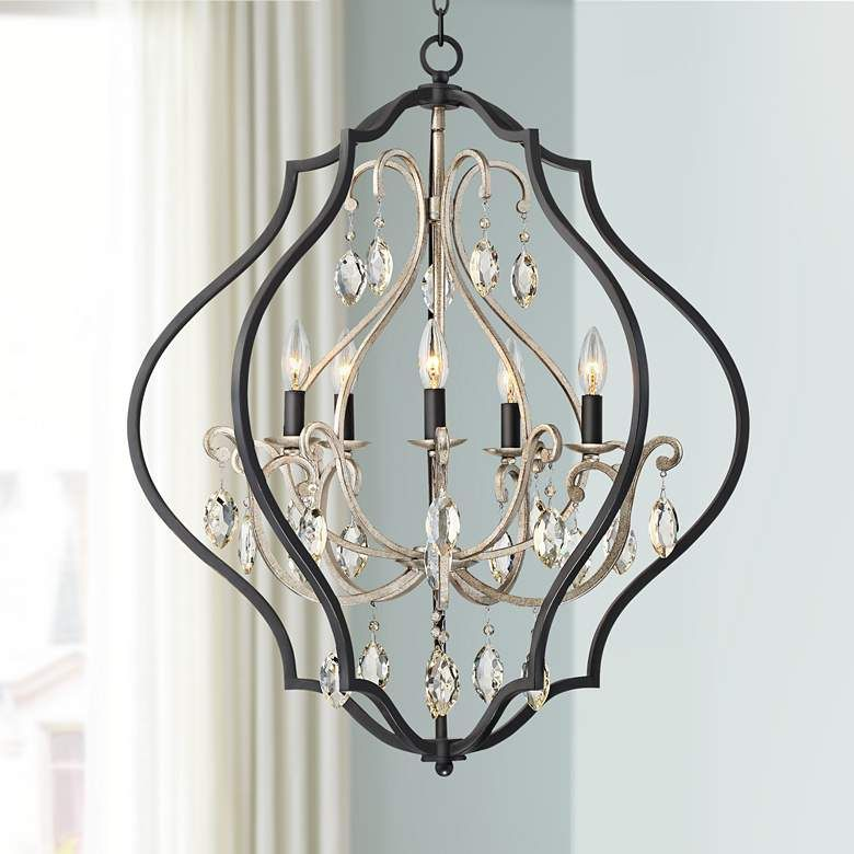 Clara 27 Wide Black And Antique Silver 5 Light Chandelier
