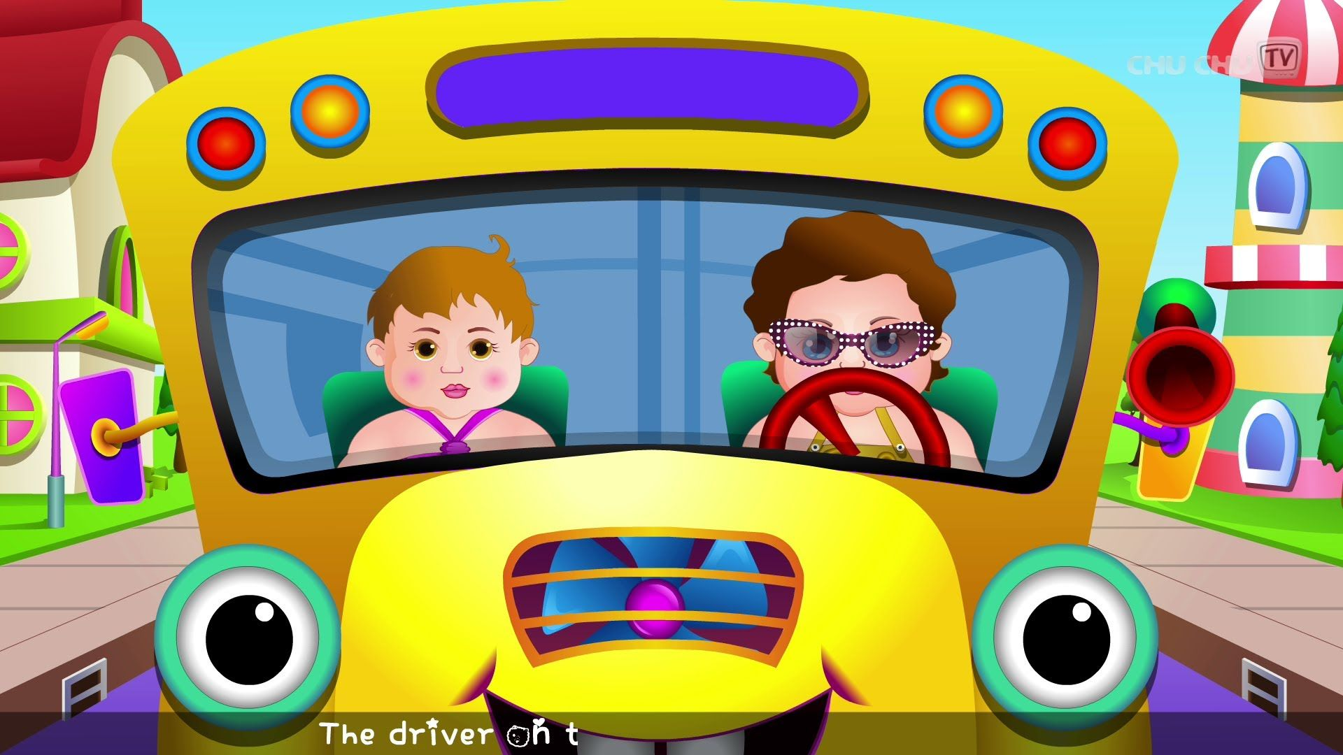 Wheels On The Bus Go Round And Round Rhyme Part 2 Cartoon