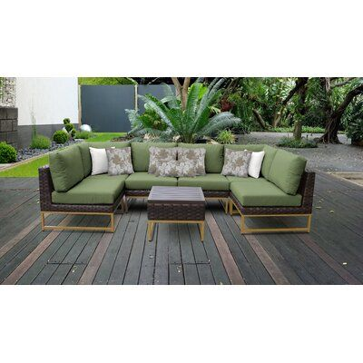 Tk Classics Barcelona Outdoor 7 Piece Sectional Seating Group With Cushions Cush Patio Furniture Sets Wicker Patio Furniture Set Outdoor Wicker Patio Furniture