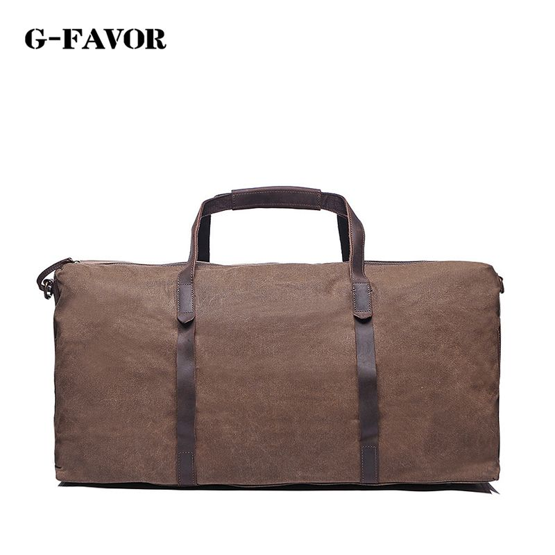 Vintage Wax Printing Canvas Leather Women Travel Bags Luggage Bags ...