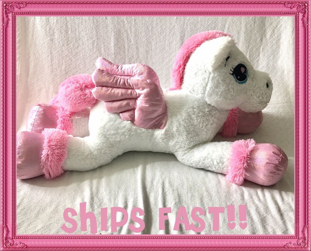 Jumbo Unicorn Plush Pegasus White Pink Stuffed Large New Huge 4 Feet