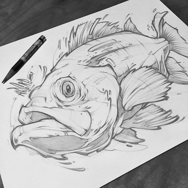 Sketching Random Ideas Sketch Fish Soak Drawing Style Graffiti Tattoo Pencil Art Sketches Fish Drawings Fish Sketch