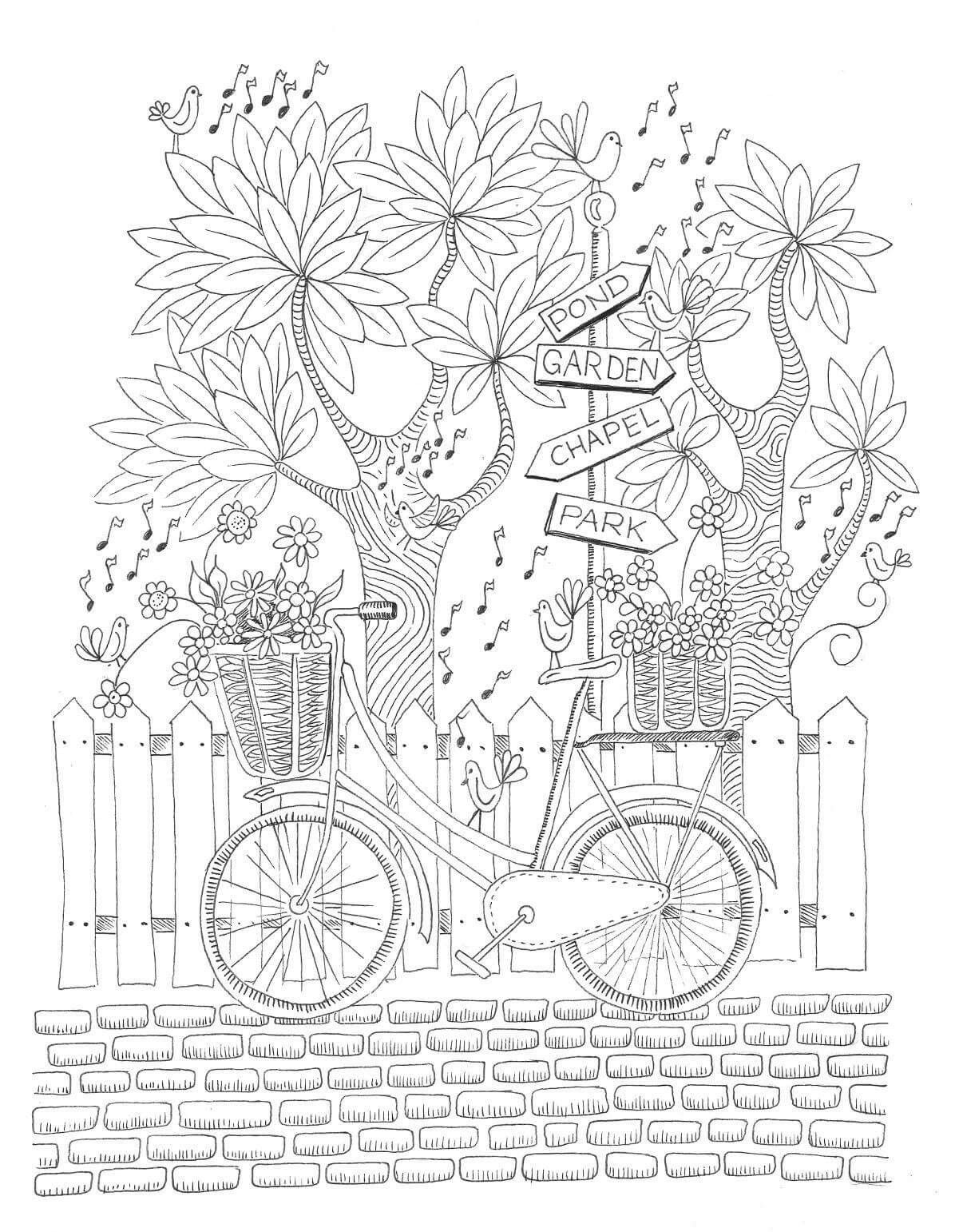 park bicycle coloring page - Bicycle Coloring Book