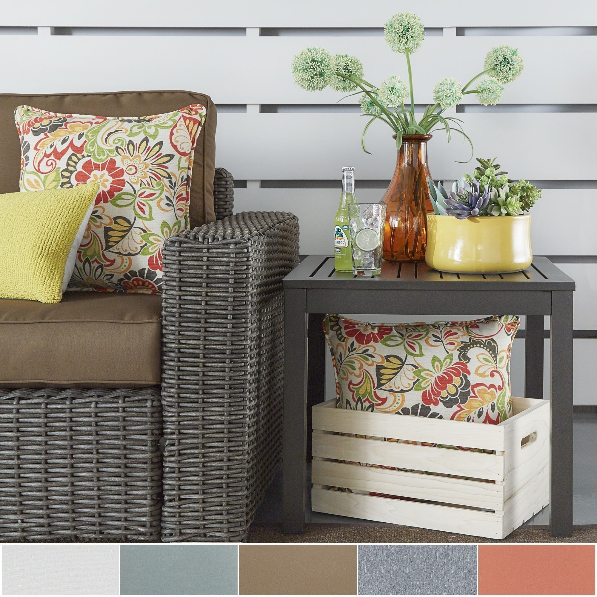 Matira Metal Patio Cushioned Accent Ottoman Side Table by Napa ...