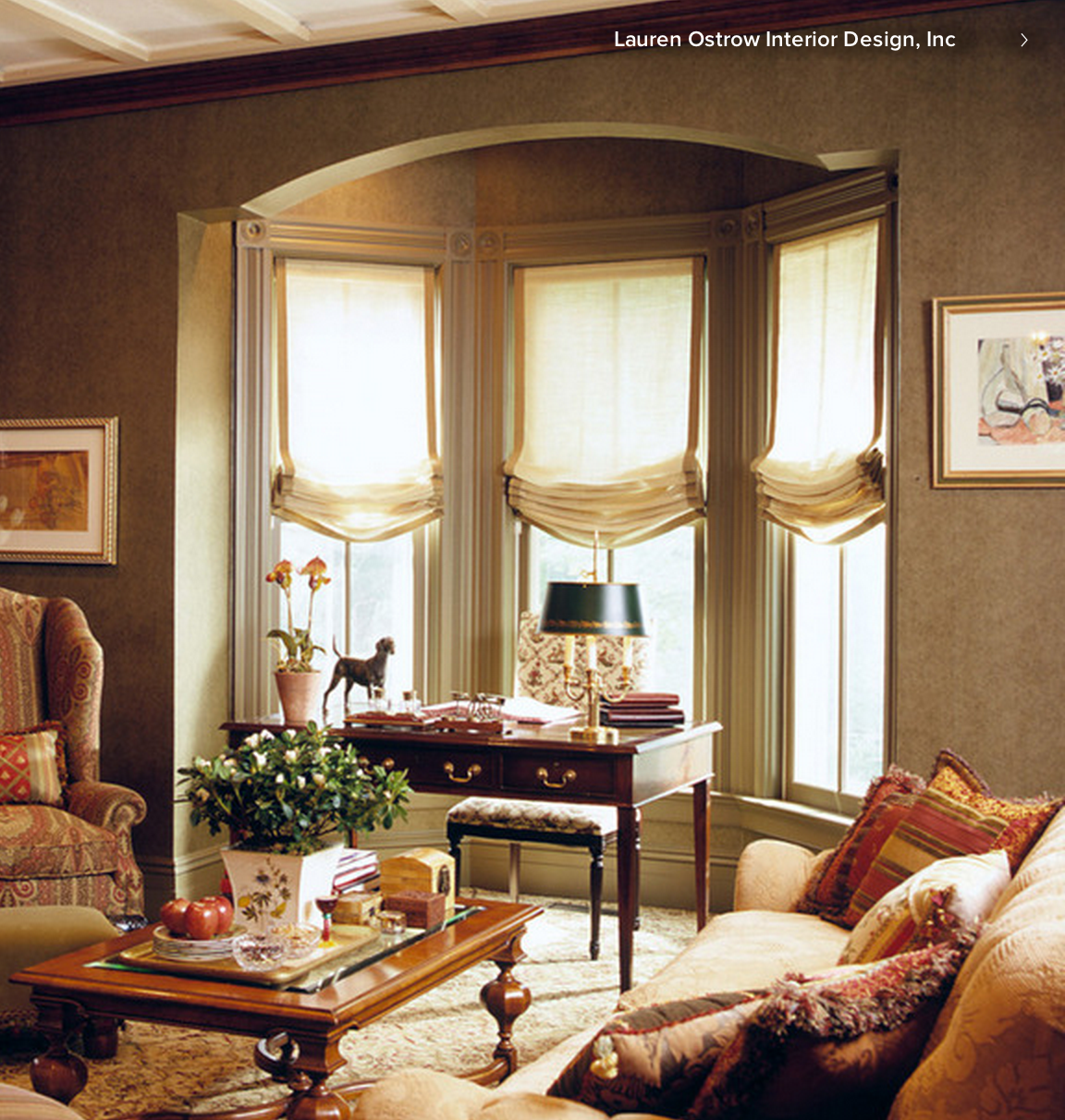 Relaxed roman shades in a bay window window treatment - Living room bay window treatments ...