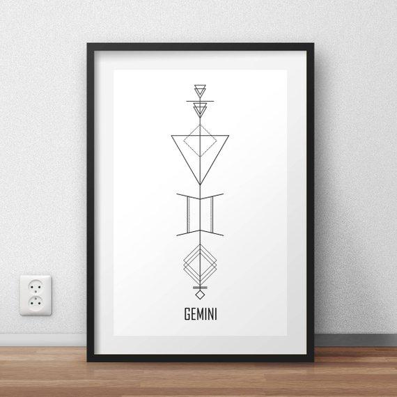 Gemini Wall Art Geometric Gemini Print Astrology Wall Decor Simplistic Tattoos Geometric Tattoo Taurus Tattoos
