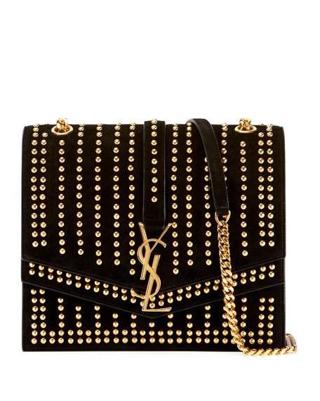 0cd079364385 Sulpice Monogram YSL Triple-Flap Suede Crossbody Bag - Golden Hardware by  Saint Laurent at Neiman Marcus
