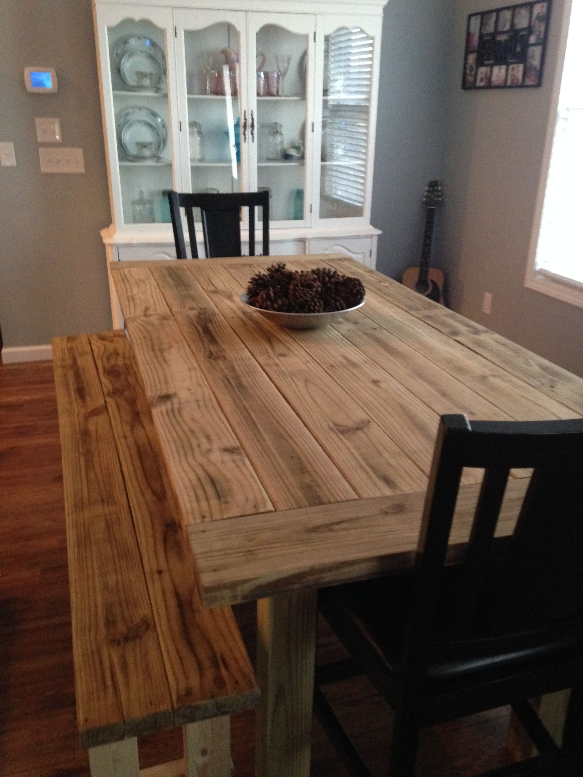 Our farm style table. My gift from hubby | Esstisch | Pinterest ...