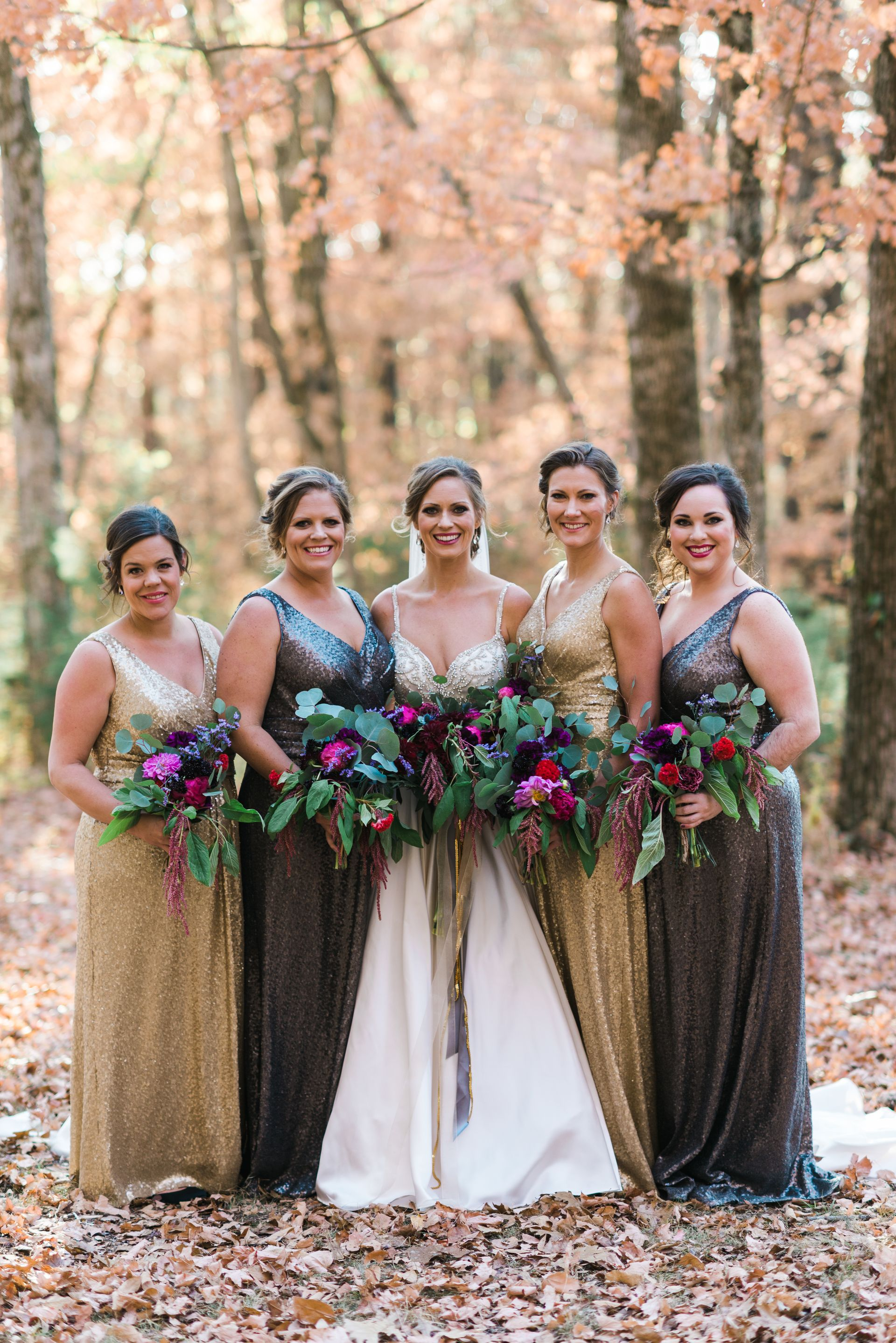 Mixed Metallic Bridesmaid Dresses V Neck Gold Dark Silver Chad Erickson Photography