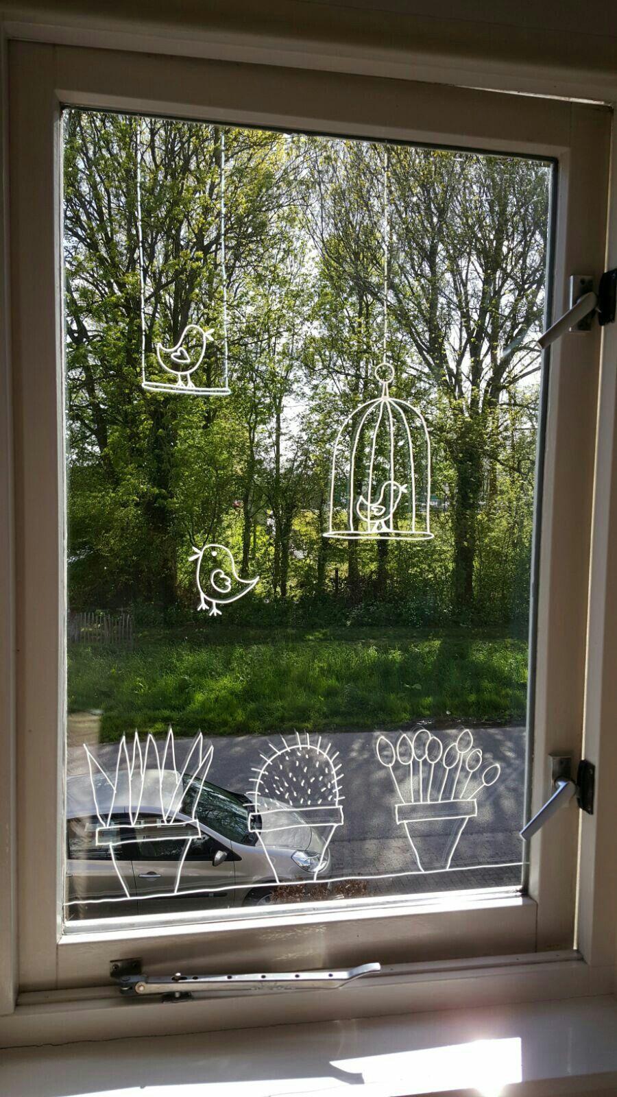 Passende fensterdeko f r den sommer mit abwaschbaren - Spiegel verzieren ...
