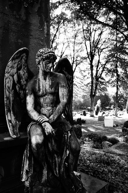 Angel +male. Most mourning statues at graves depict females, female angels, mothers' with babes...but, WHERE ARE THE MEN MOURNING OVER THEIR BELOVEDS' GRAVES ??? Hmmmm??