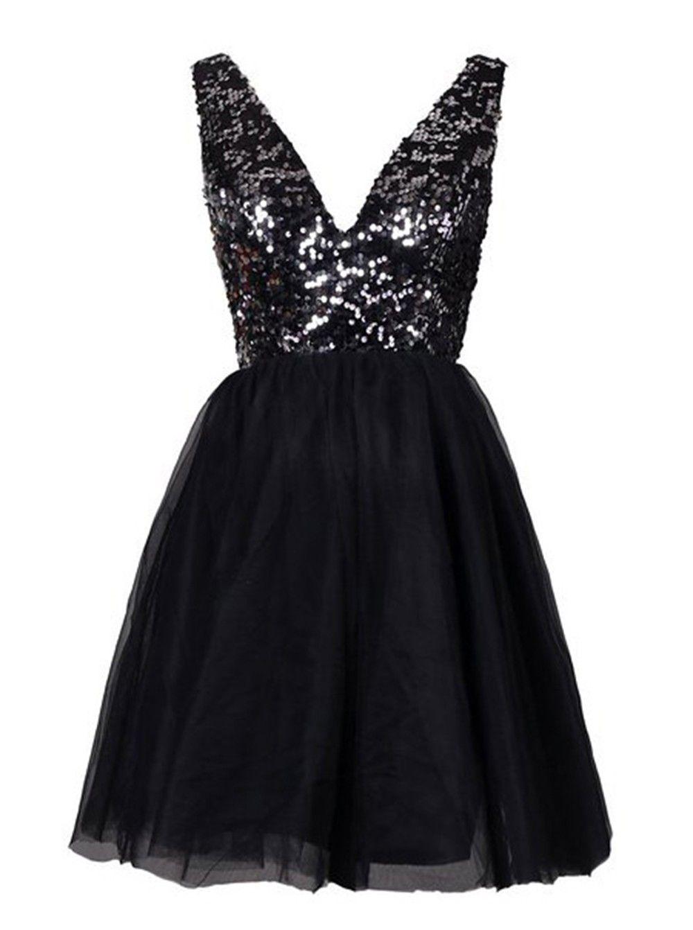Vintage vneck short black homecoming dress sequined open back
