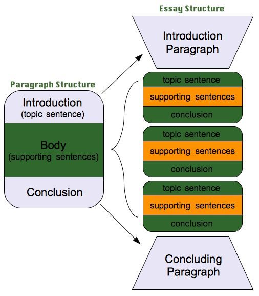 great visual to explain the structure of a 5 paragraph essay