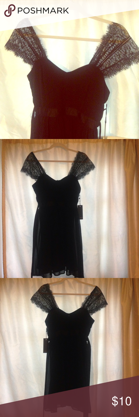 Forever 21 Lace Capsleeve A-Line Dress 💕 This dress is brand new, never worn. Has lace for the sleeves and ribbons on the side to cinch the waist. Hits right above the knee. Great for a formal dinner! Forever 21 Dresses Midi